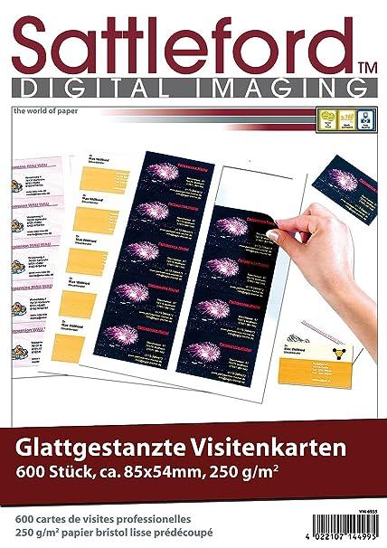 Sattleford Visitenkarten Gestanzt 600 Business Visitenkarten Mit Glatten Kanten 250g M Druckerpapier Visitenkarten