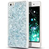 HUAWEI P8 LITE Case,HUAWEI P8 LITE Cover,ikasus Ultra Thin Clear Crystal Bling Shiny Giltter Rhinestone Clear Rubber Frame Transparent TPU Soft Silicone Bumper Case Cover for HUAWEI P8 LITE,Blue