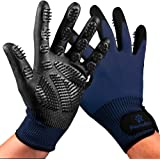 Pet Grooming and Bathing Gloves - Effective Pet Hair Remover for Cats, Dogs & Horses - Long & Short Fur - Enhanced Nubs…