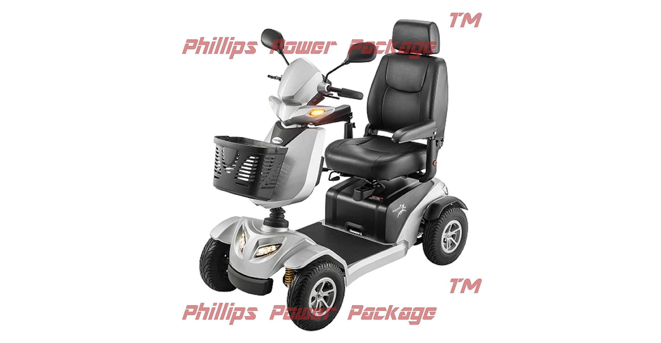 Merits - Silverado - 4-Wheel Full Suspension Electric Scooter - 18''W x 17''D - Silver - PHILLIPS POWER PACKAGE TM - TO $500 VALUE