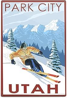 product image for Lantern Press Park City, Utah, Downhill Skier (12x18 Aluminum Wall Sign, Wall Decor Ready to Hang)