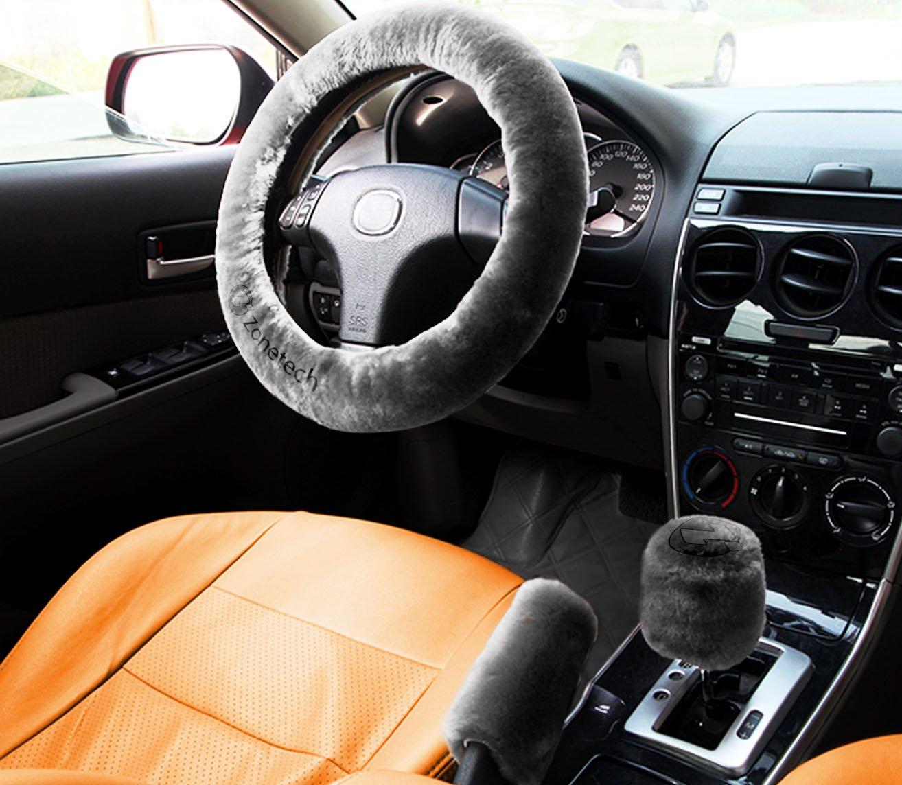 Zone Tech Non-slip Car Decoration Steering Wheel Handbrake Gear Shift Plush Cover – Auto Comfortable Thermal Steering Wheel Cover (Gray) WC0021