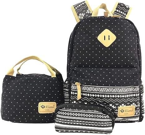 Set Of 3pcs Unisex School Bags Girls Biys Polka Dot Trevel Backpack Pencil Case
