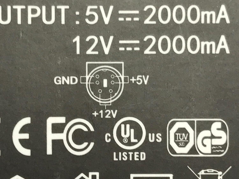 12V 5V 2A 6 Pin DIN AC-DC Adaptor Hard Drive Power Supply for Model MDT0361205-F