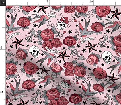 Spoonflower Grunge Tattoo Fabric - Pink Floral Grunge Tattoo Tattoo Retro  Rockabilly Roses Skull Stars Grunge Abstract by Cynthiafrenette Printed on