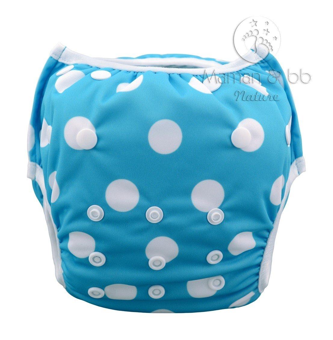 Couche maillot de bain pour bébé piscine et mer - turquoise a pois Maman et bb Nature