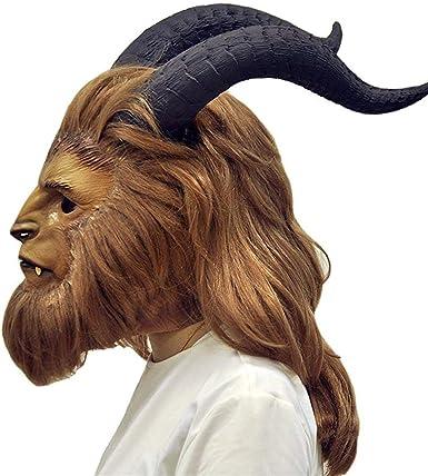 Amazon Com Beauty And The Beast Mask Prince Dan Stevens Cosplay Mask Helmet Wig Costume Prop Teeth Beast Clothing