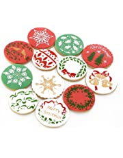 Christmas Cookie Stencils Biscuit Pastry Cutters, Cookie Decorating Tools Fondant Molds Baking Stencil, Xmas Food Grade Decorating Stencils for Cookies and Cupcakes