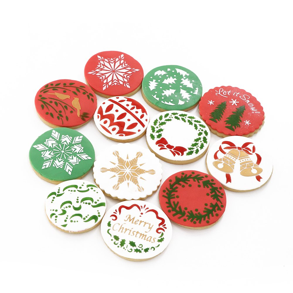 Christmas Cookie Stencils Fondant Cookie Mold, Food Grade Plastic, 12-Pieces Decorating Stencils(Snowflake)