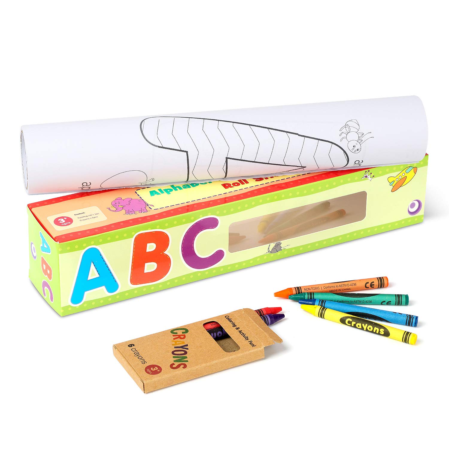 15.6-Foot Sticker Coloring Roll Alphabet Continuous Coloring Paper,Great for Group Coloring Ages 3 BetiBeti Learn Your ABCs