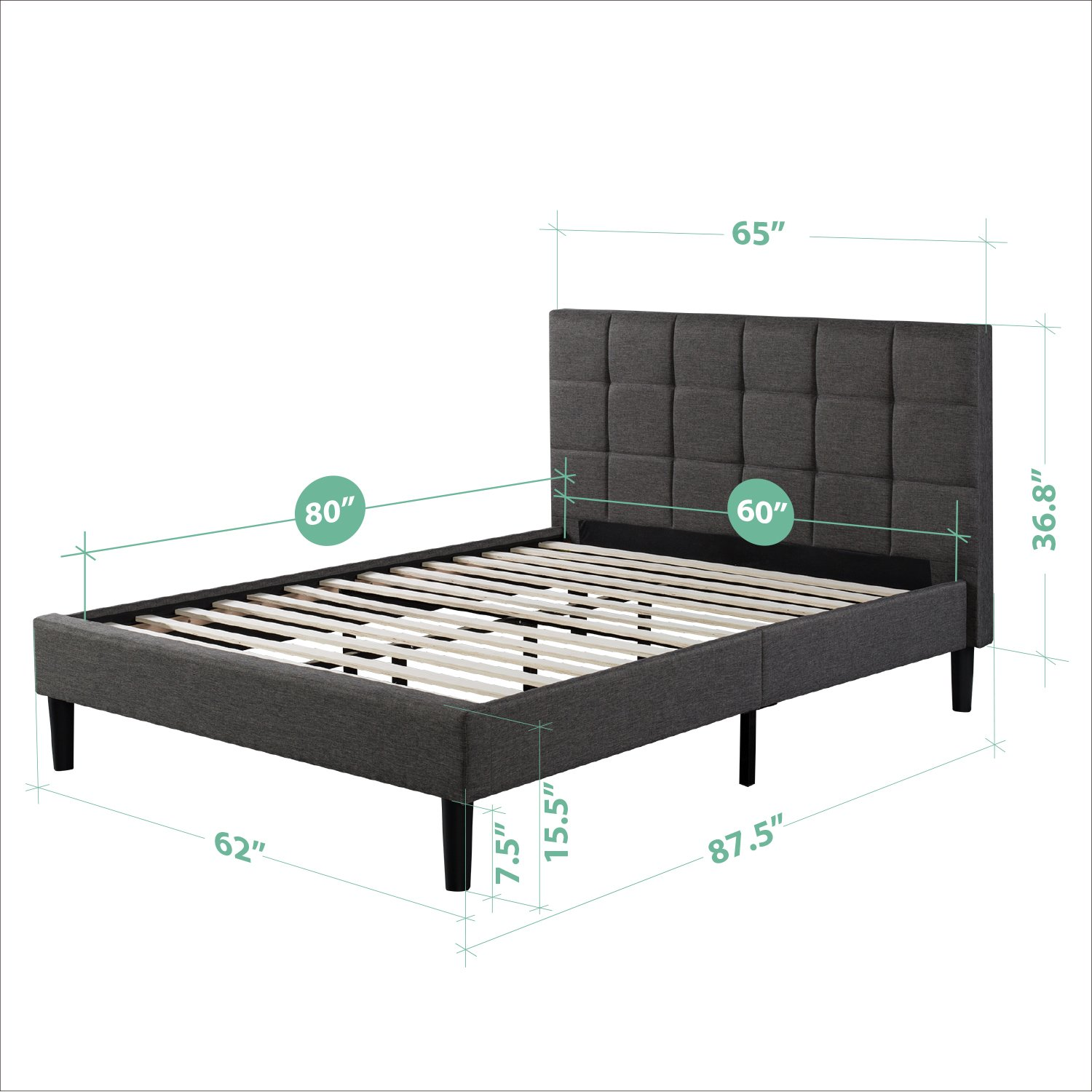 Amazon.com - Zinus Upholstered Square Stitched Platform Bed with Wooden  Slats, Queen -
