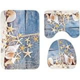 Hot Sale! Bathroom Mat Toilet Lid Cover Cushion Set Flannel Non Slip 3pcs (A