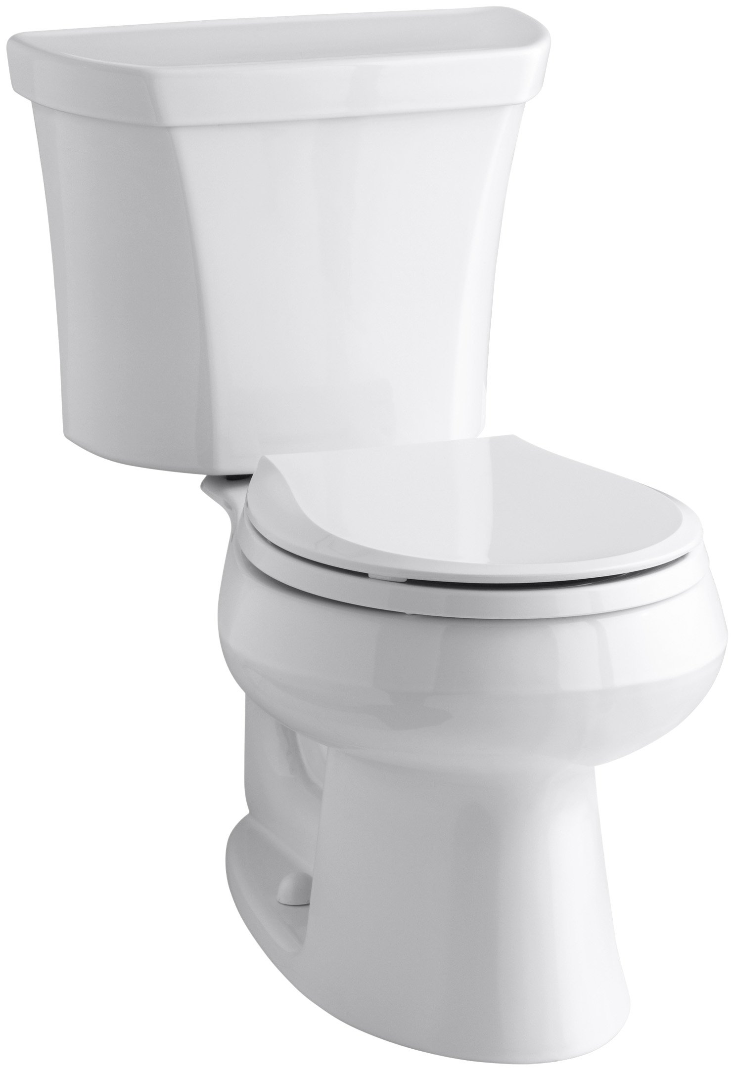 KOHLER K-3987-RA-0 Wellworth Round-Front Dual-Flush Toilet with Class Five Flush Technology and Right-Hand Trip Lever, White, 2 Piece by Kohler
