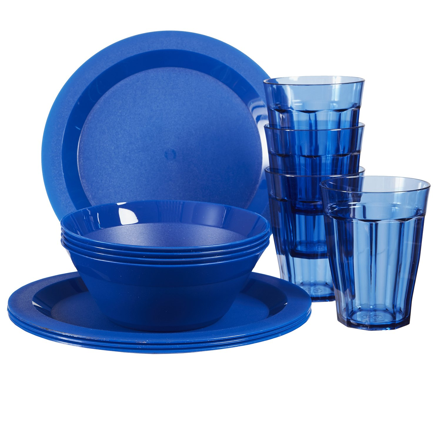 Cambridge Plastic Plate, Bowl and Tumbler Dinnerware | 12-piece set Blue