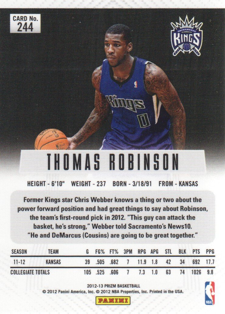 2012-13 Panini Prizm Basketball #244 Thomas Robinson RC