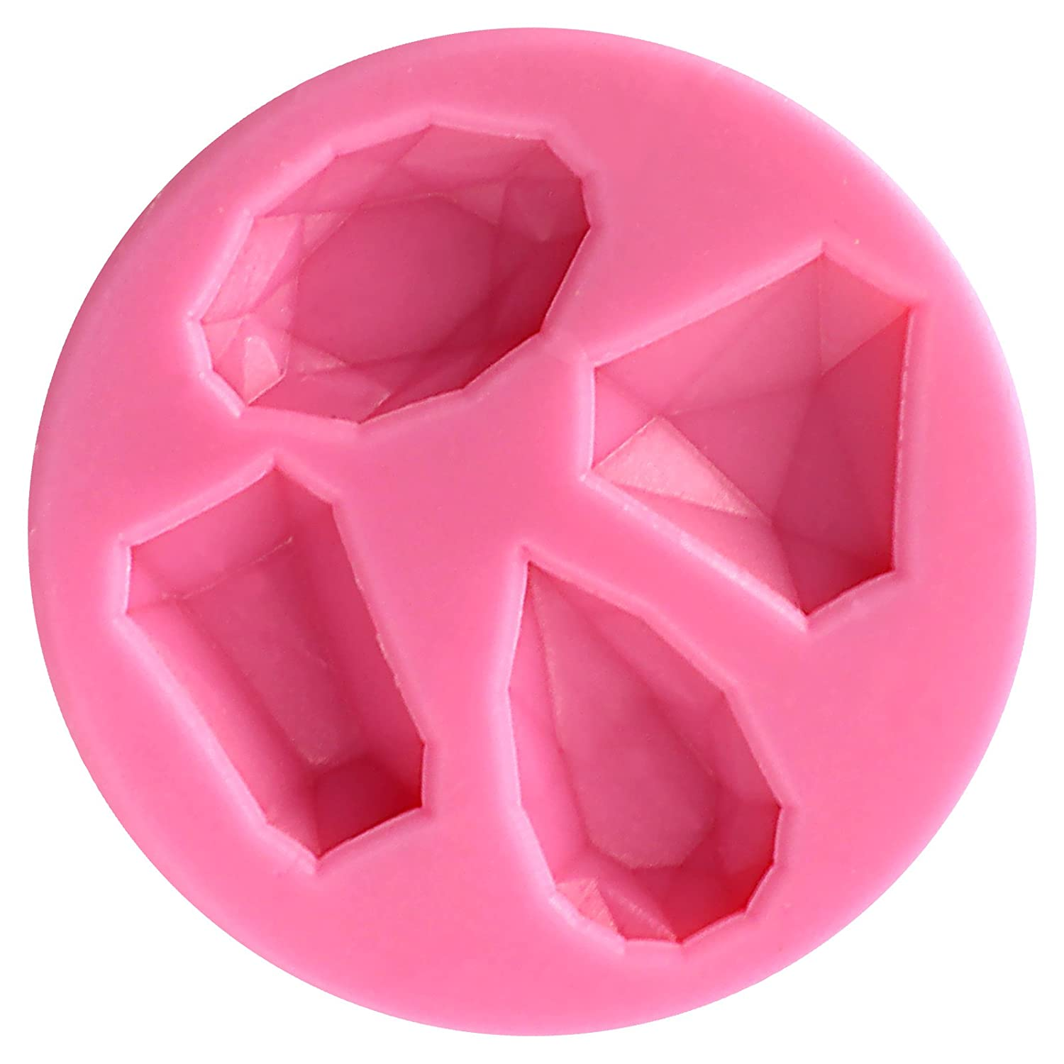 Funshowcase 4 Cavities Gems Silicone Mold for Cake Decorating, Crafting, Polymer Clay, Resin