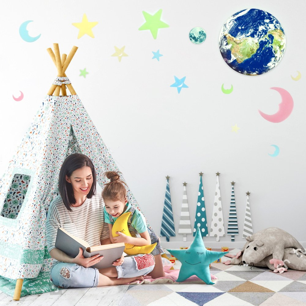 Night Luminous Set Room Wall Decal Stickers with Self Adhesive for Home Decorations 11.8inch SanwoDirect Sanwo Moon Earth Stars 3D Glow in The Dark Sticker