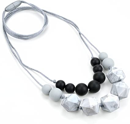 NURSING Beads CHEW Jewelry for adults. Natural Colors BPA FREE Silicone Teething Necklace for Mom,Fashion Mom Teether
