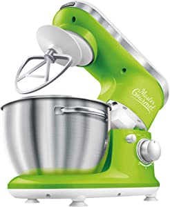 Sencor STM3621GR 6 Speed Stand Mixer with Pouring Shield and 4 Specialized Metal Attachments and Stainless Steel Bowl, 4.2 Qt, Green