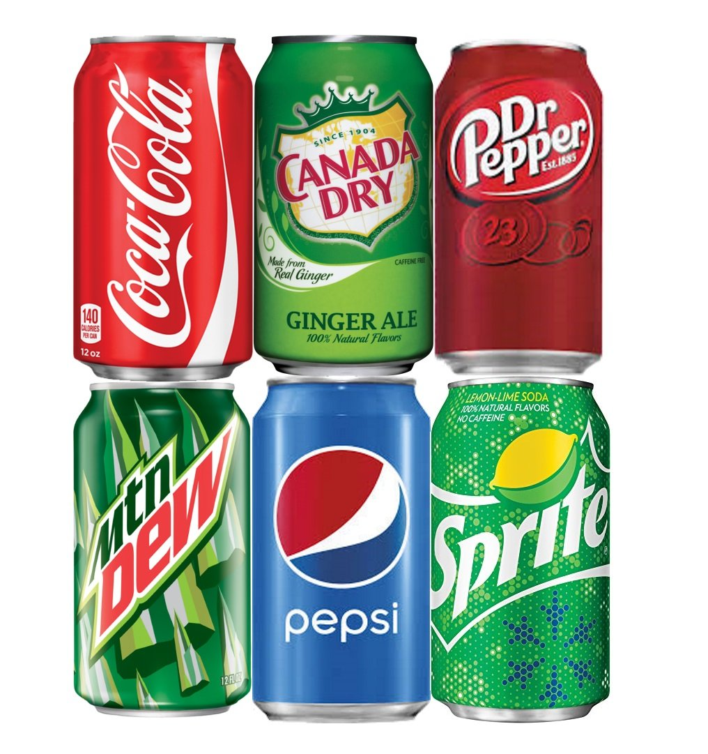 Assortment of Soda, Coca-Cola, Pepsi, Dr Pepper, Mountain Dew, Sprite and Ginger Ale Drinks Refrigerator Restock Kit (Pack of 6 Cans)