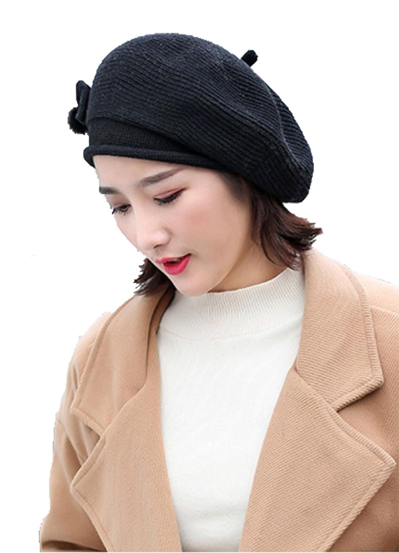 Black Bow Wool Hat Beret Painter Women Warm Hat Cap Winter Fashion Hats accessories