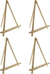 """U.S. Art Supply 12"""" High Natural Wood Display Stand A-Frame Artist Easel (Pack of 4) - Adjustable Wooden Tripod Tabletop Holder Stand for Canvas, Painting Party, Kids Crafts, Photos, Pictures, Signs"""