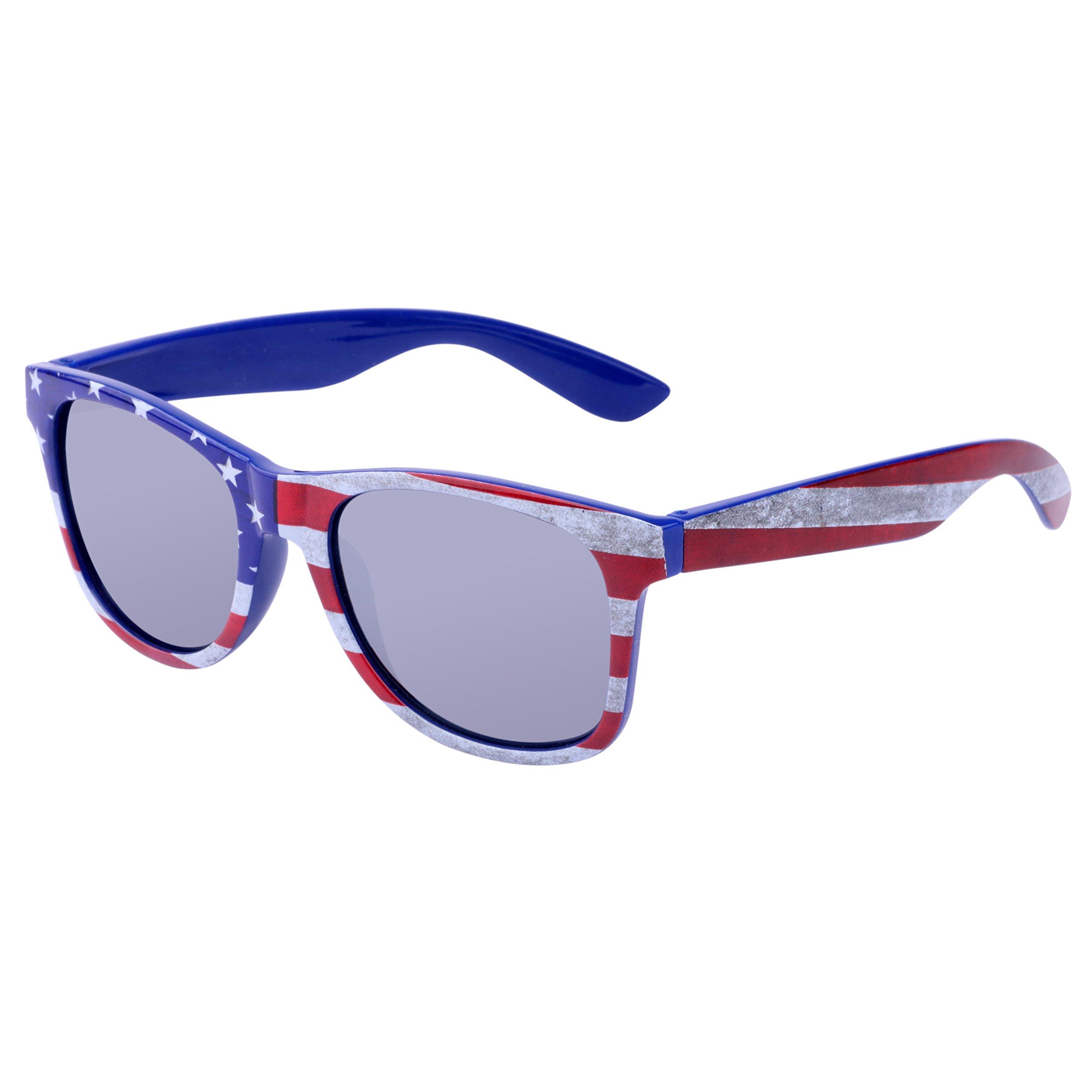 Family USA Flag Navigator Sunglasses with Mirror UV400 Lens for women men
