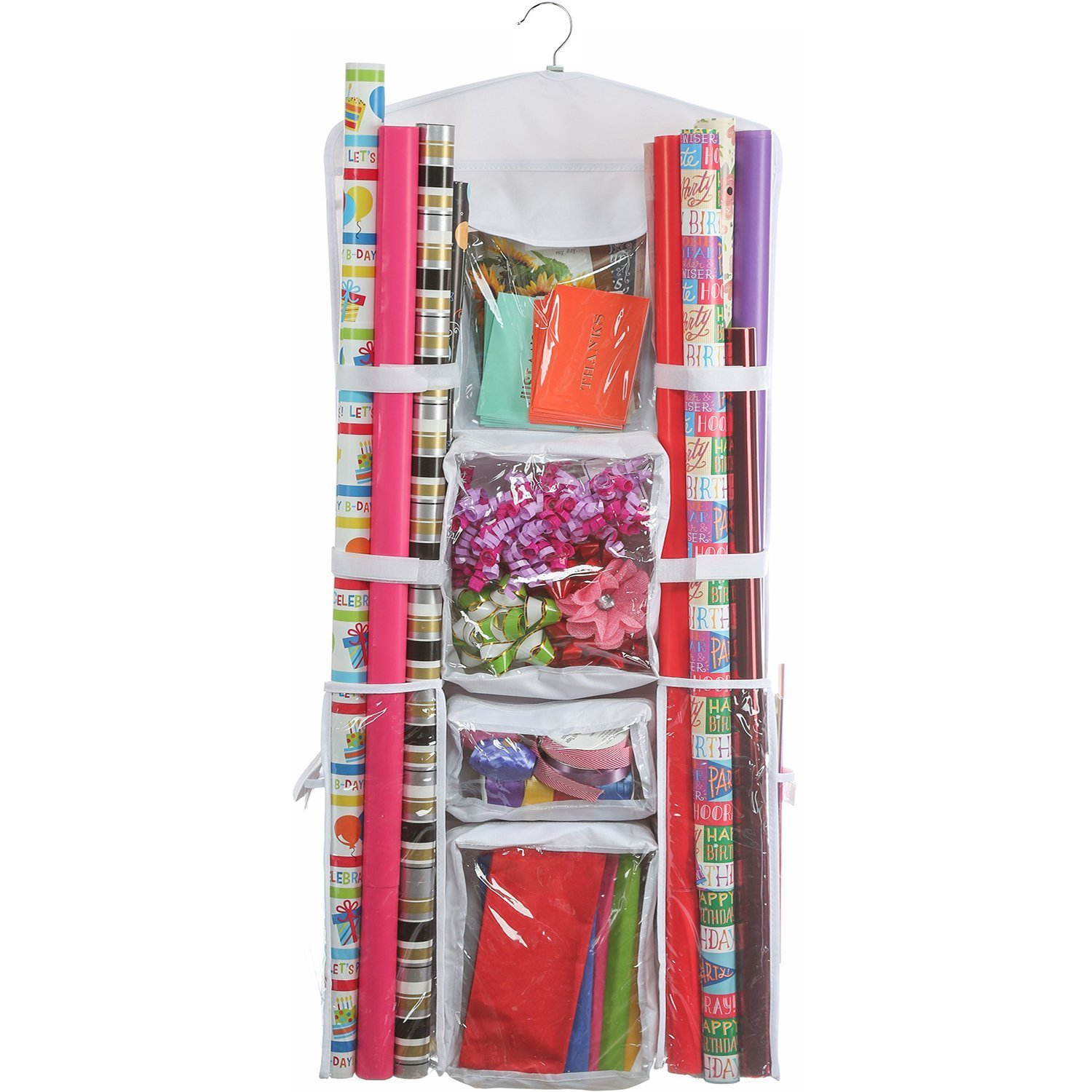 Clorso Wrapping Paper Storage Fits 40 Inch Gift Wrap Roll, Gift Bags, Bow, Ribbons, Includes Door Hook Plus Stickers