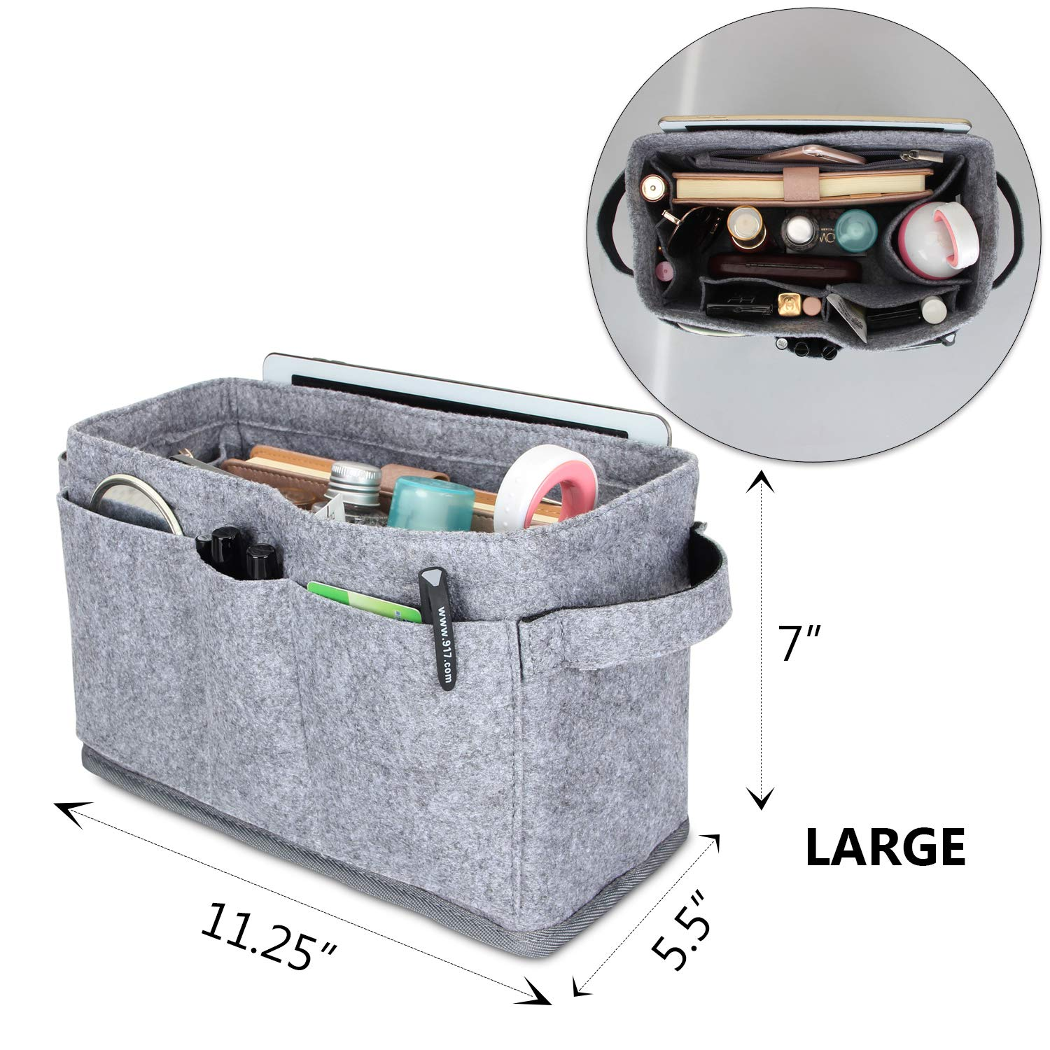 Bag in Bag Purse Packing Organizers Luxja Felt Organizer Insert for Handbag Felt Handbag Insert with 2 Handles Large, Gray