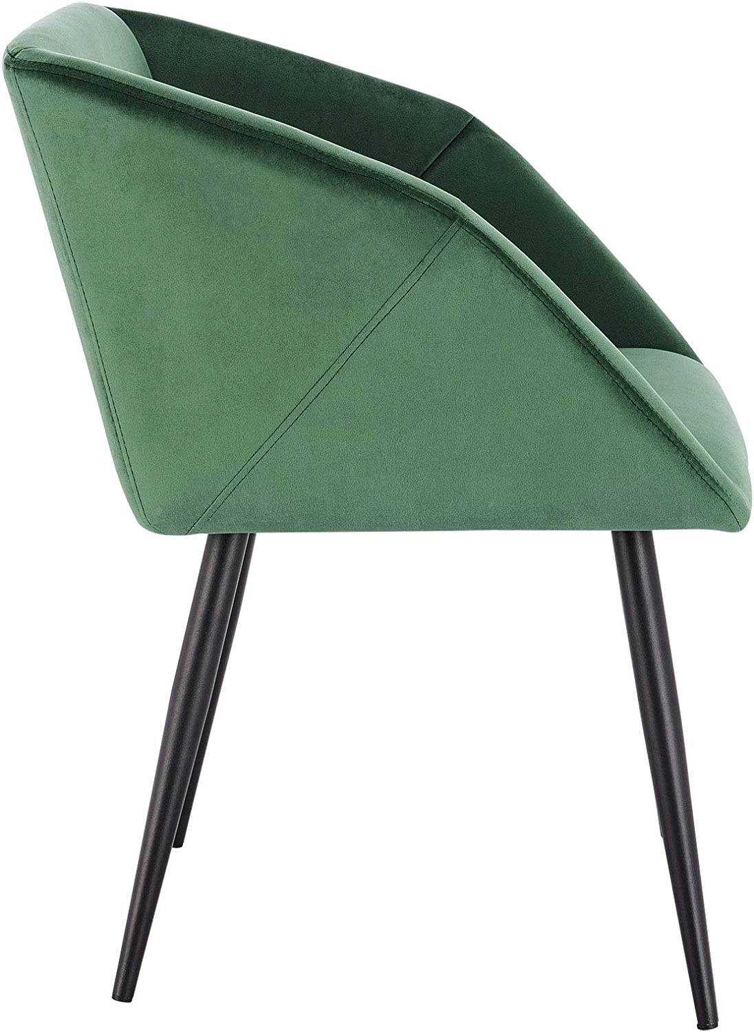 EUGAD Dining Room Chairs Set of 2 PCS Kitchen Side Chairs for Bedroom Living Room Dark Green Velvet Dining Chairs with Arms Rest, Back Support & Metal Legs, 0293BY-2 Dark Green