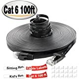 TBMax Cat 6 Ethernet Cable Flat 100ft, With Cable Clips and Tags,Fast than Cat5e/Cat5 Bandwidth,Long Network Cat6 Cable Patch,100 ft Slim Internet Cable, Ethernet Cord Black Snagless RJ45 Connectors