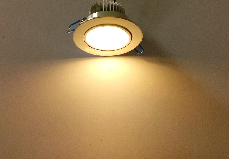 Liqoo Pack de 10 Focos Empotrable LED 7W Transformador Incluido Impermeable Luz de Techo Downlight Projector Blanco Cálido 2800K 660LM AC 85-265V Ángulo de ...