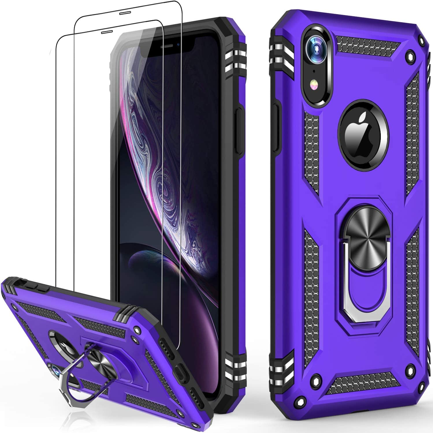 iPhone XR Case with Tempered Glass Screen Protector,Military Grade 16ft. Drop Tested Cover with Magnetic Ring Kickstand Protective Phone Case for iPhone XR Purple