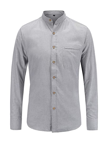 70016f423 Jeetoo Mens Grandad Collar Oxford Shirt Long Sleeve Solid Color
