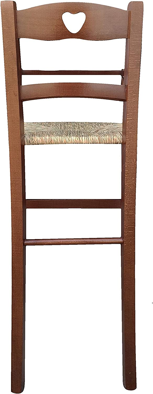 Sediolone,sedia,sgabello per bambini alto 69cm da terra alla seduta in noce scuro con seduta in paglia stabile e sicuro nuovo gi/à montato,adatto a penisola o tavoli con altezza da cm 80 a cm 105