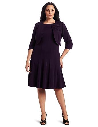 2cb65d0b55d7a Jessica Howard Women s Plus-Size Pintuck Ponte Jacket Dress with ...