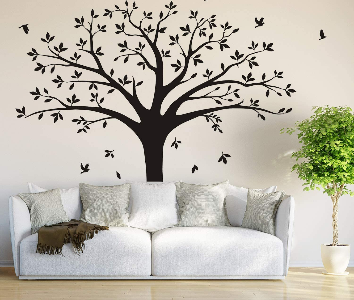 Large Family Tree Photo Frames Wall Decal Vinyl Wall Stickers for Home Decoration(220 x 250 cm) (Black)
