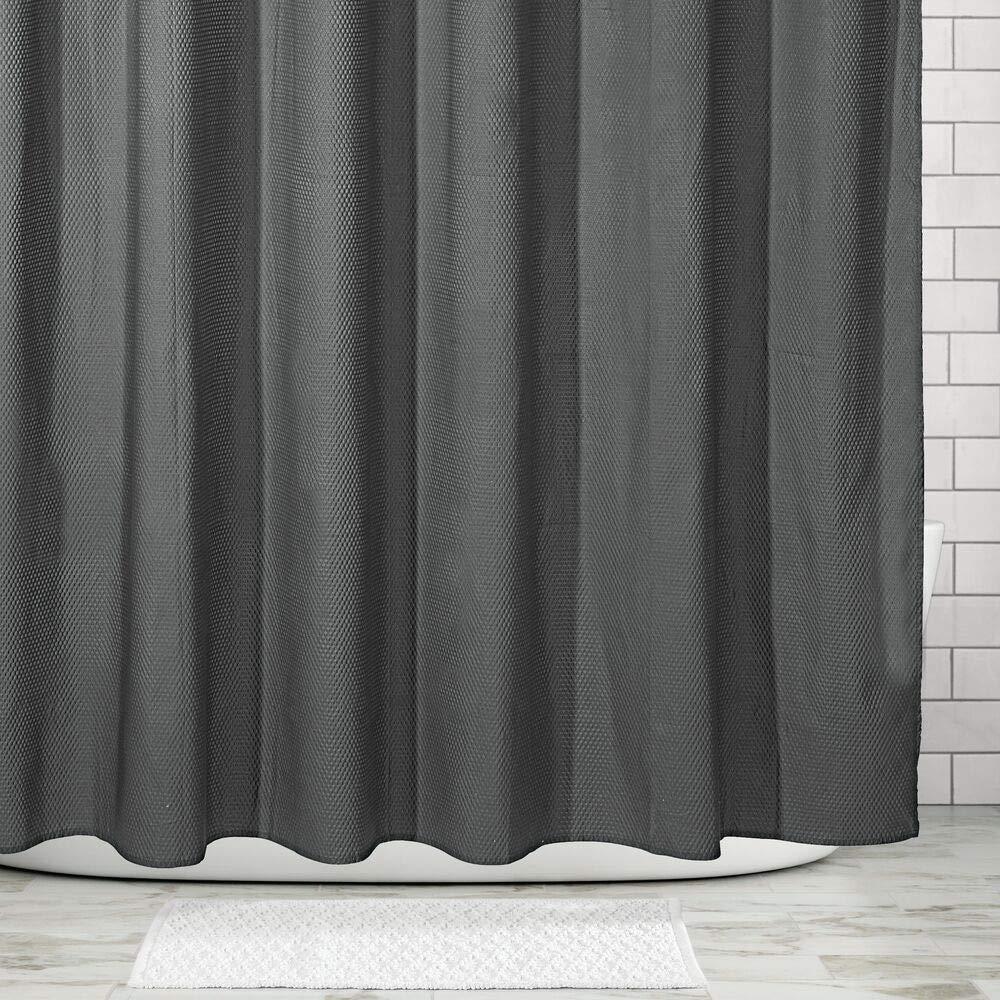 Tende per doccia raffinate con motivo a nido dape mDesign Tende bagno in microfibra poliestere bianco Tenda per vasca da bagno facile da lavare