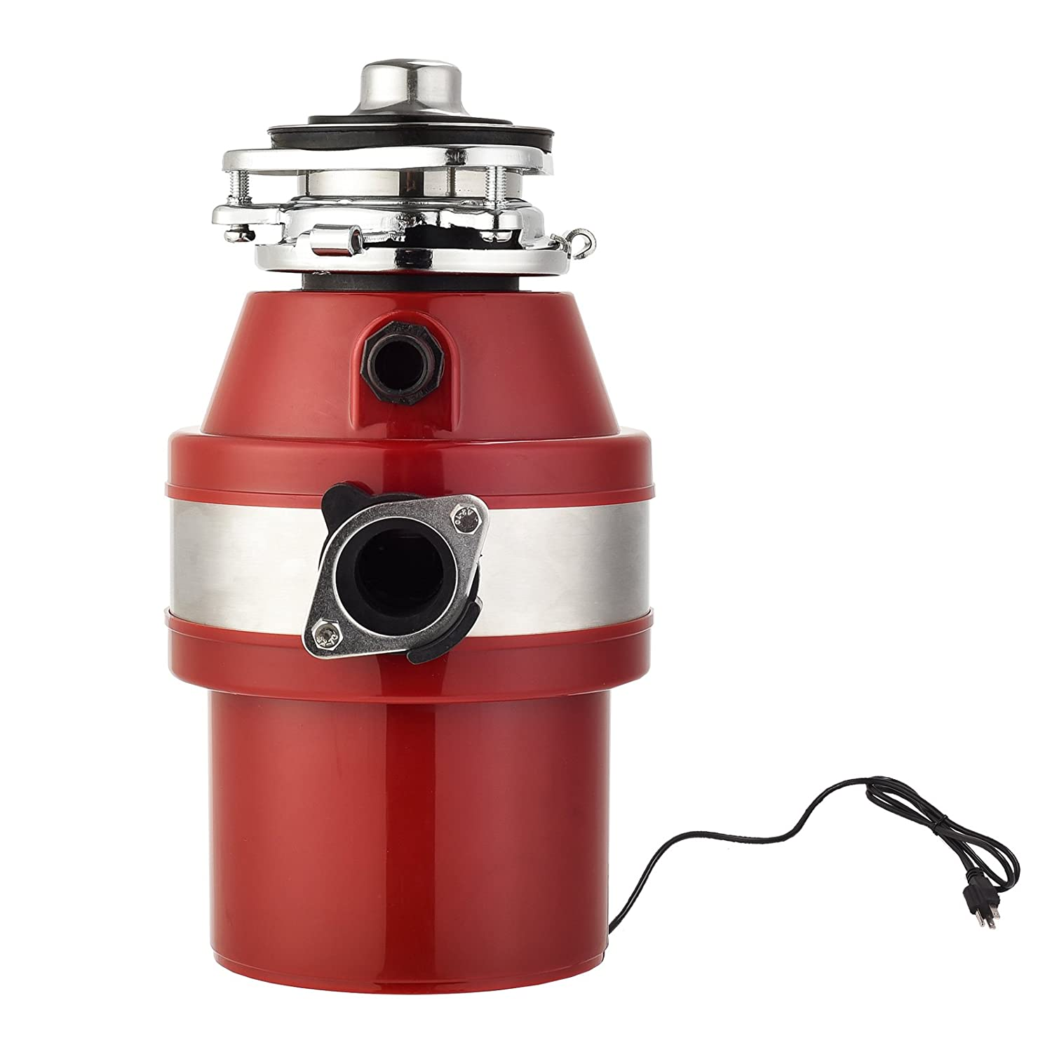 KUPPET Garbage Disposal, Garbage Disposal with1 HP Household Food Waste Garbage Disposal Continuous Feed with Power Cord 3 Level of Grinding 2600 RPM (Red)