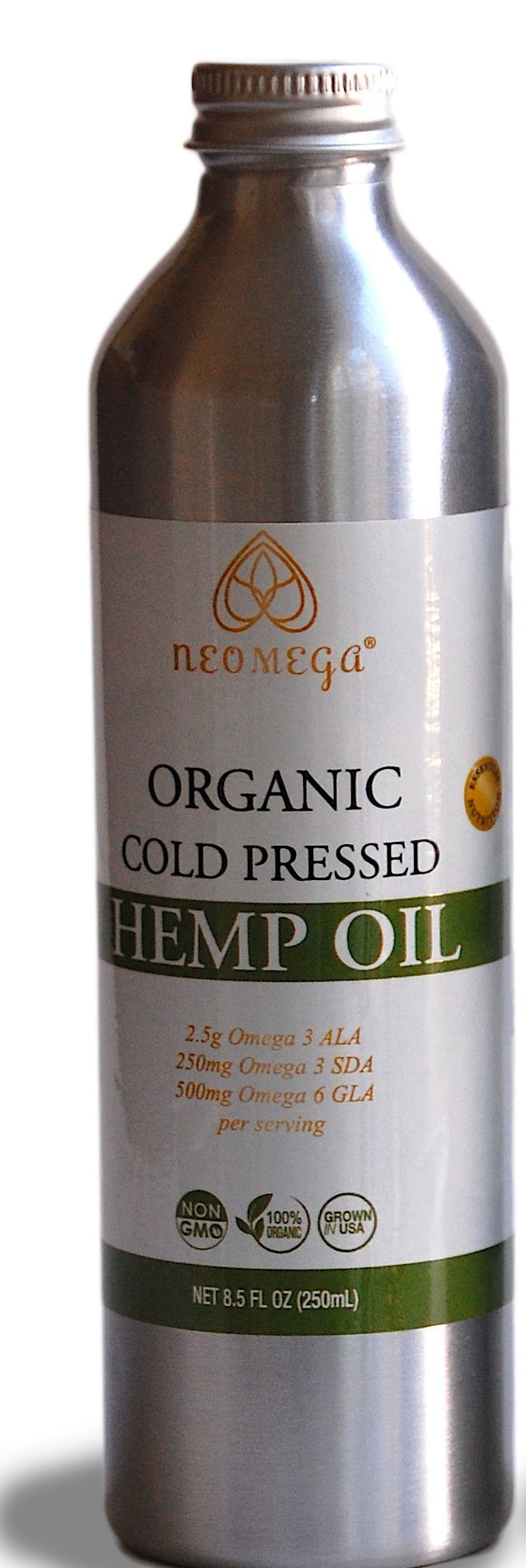 NEOMEGA Organic Hemp Oil Virgin, Cold-Pressed, 100% Pure: No Fillers or Additives, Therapeutic Grade, Product of the USA (8 fl oz)