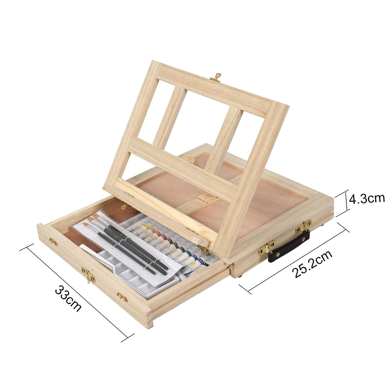 Tavolozza Juego de 19 piezas de caballete de lona con suministros para dibujar pinceles acr/ílicos para pintura de dibujo