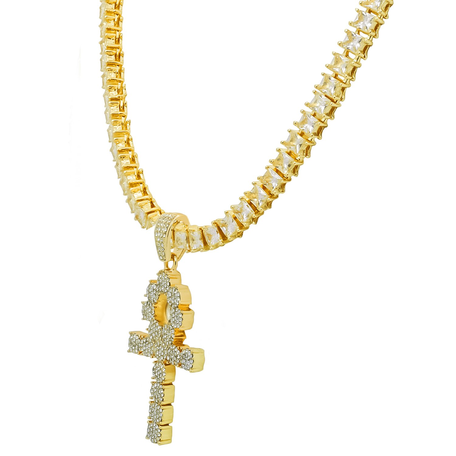 Yellow Gold-Tone Iced Out Hip Hop Bling Symbol Of Life Ankh Cross Pendant 1 Row Square Cubic Zirconia Princess Cut Stones Tennis Chain 18 Necklace Choker Chain