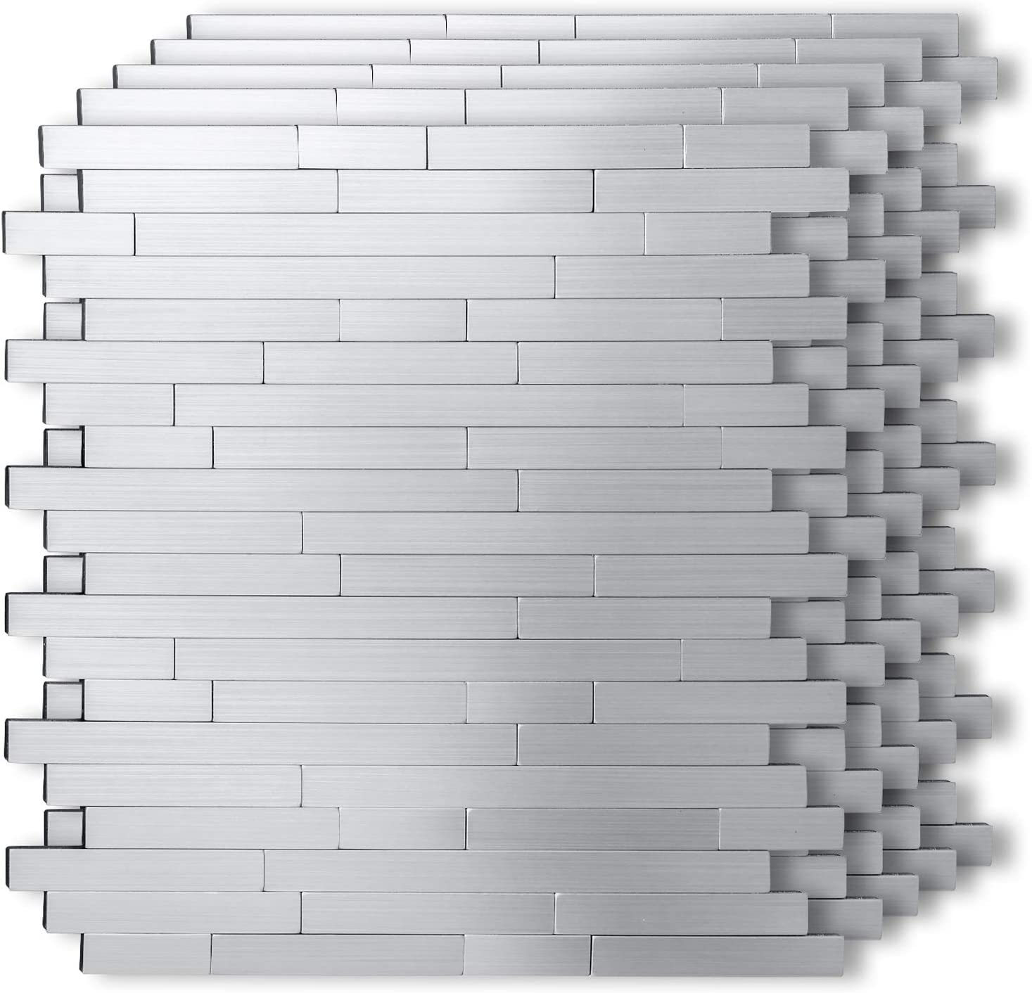 "HomeyMosai Peel and Stick Tile Metal Backsplash Stick on Kitchen Bathroom Stove Walls Decor Aluminum Surface Metal Smart Tiles 3D Wall Sticker,Irregular Subway Stripe Puzzle(12""x12""x 5 Sheets)"