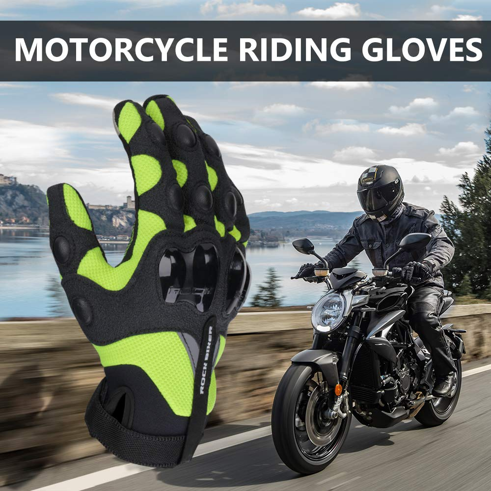 kemimoto Mens Motorcycle Gloves Riding Black Full Finger Breathable Protective Motocross Racing Dirt Bike BMX MX ATV MTB Cycling Bicycle Wearable Protection Gloves L