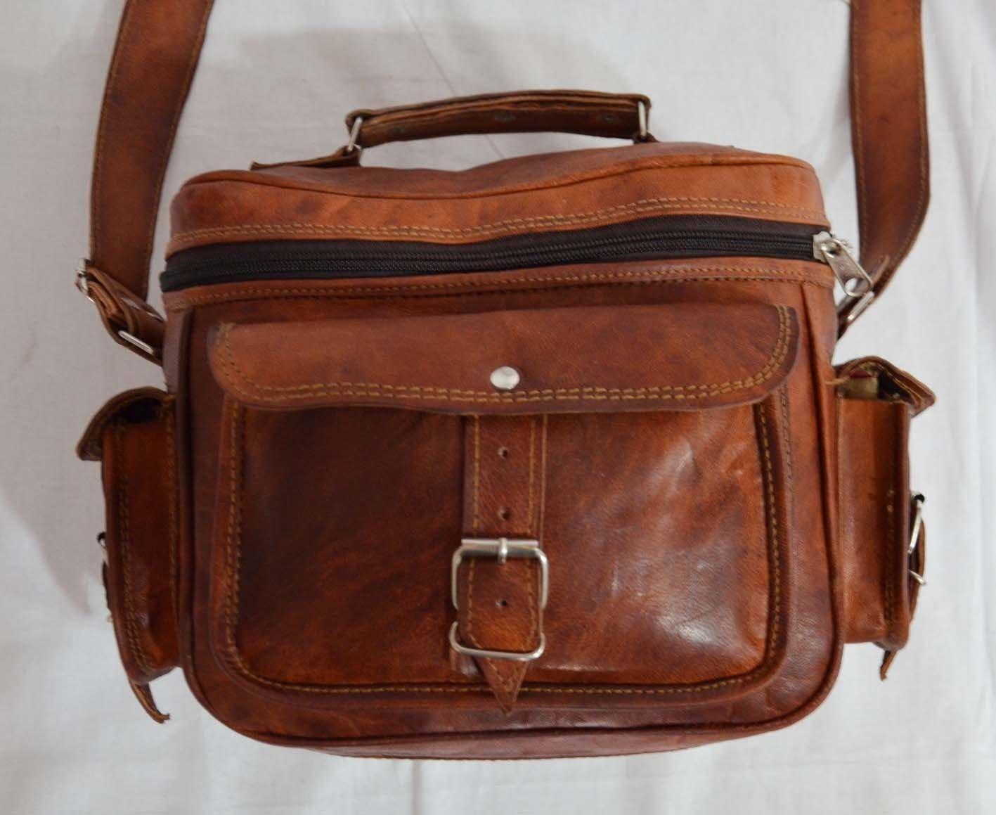 thehandicraftworld Vintage handmade messenger Real Goat leather satchel shoulder bag for camera