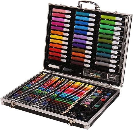 Wuxingqing Lápices de Colores Sketch Set 150 Piezas de Estudio de Arte con Estuche de Aluminio para niños para Colorear Set-Kids Pencil Crayons Acuarela Pintura para Colorear Plumas: Amazon.es: Hogar
