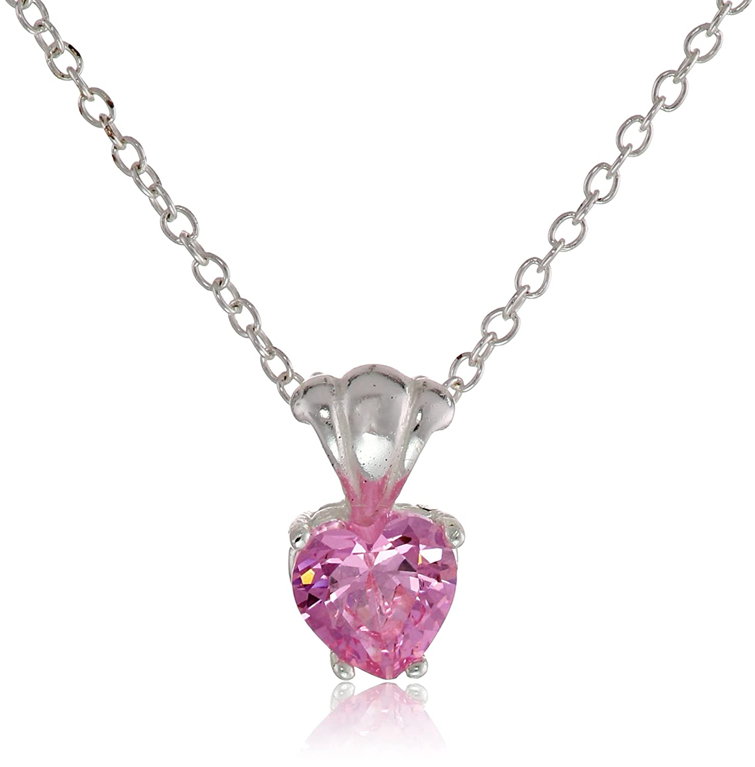 Amazon disney cubic zirconia heart charm pendant necklace jewelry aloadofball Image collections