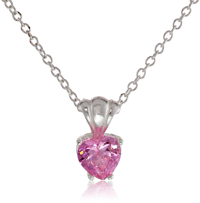 Amazon.com: Disney Cubic Zirconia Heart Charm Pendant Necklace ...