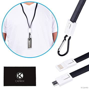 CamKix USB Lanyard Compatible with Ledger Nano S - Transport, Power and Data Transfer Cable - Carabiner to Protect Against Loss - Also for Your Phone, ...