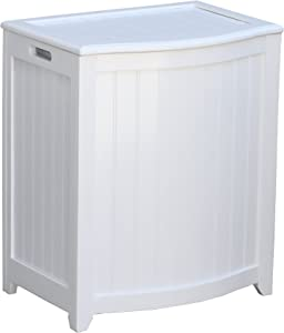 Oceanstar BHP0106W Bowed Front Laundry Wood Hamper, White Finished